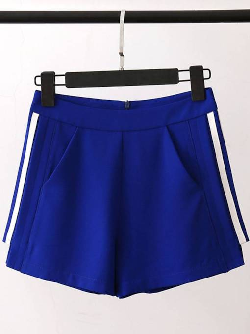 Stripe Side Color Block High Waist Straight Women's Shorts