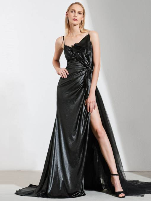 A-Line Spaghetti Straps Bowknot Split-Front Evening Dress