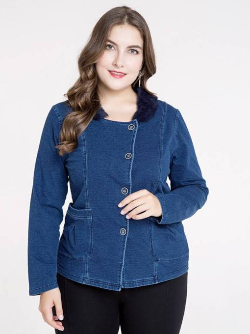 Plus Size Single-Breasted Faux Fur Collar Women's Denim Jakcet