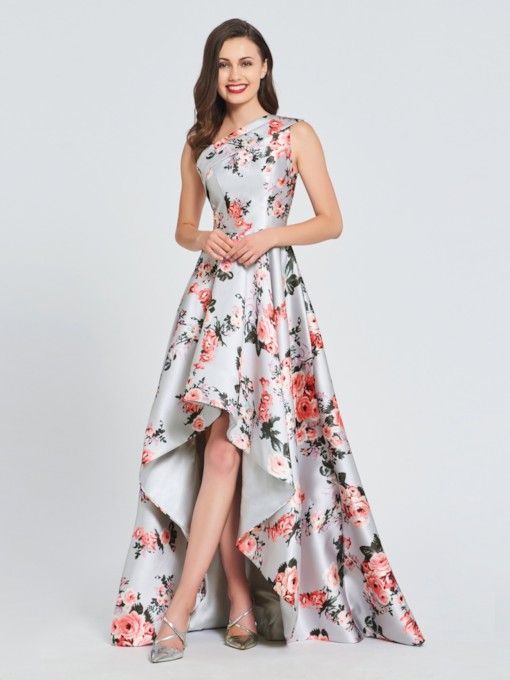 A-Line One-Shoulder Printed Prom Dress
