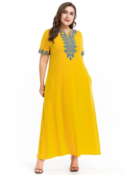 Plus Size Yellow Embroidery Pocket Women's Maxi Dress