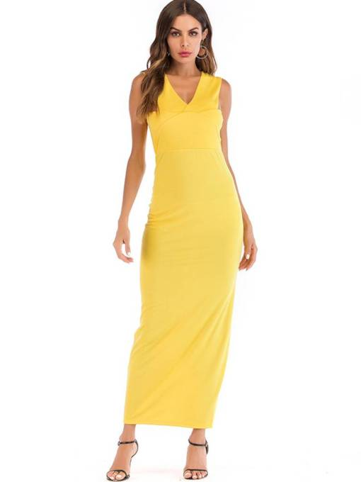 Yellow Sleeveless Women's Maxi Dress