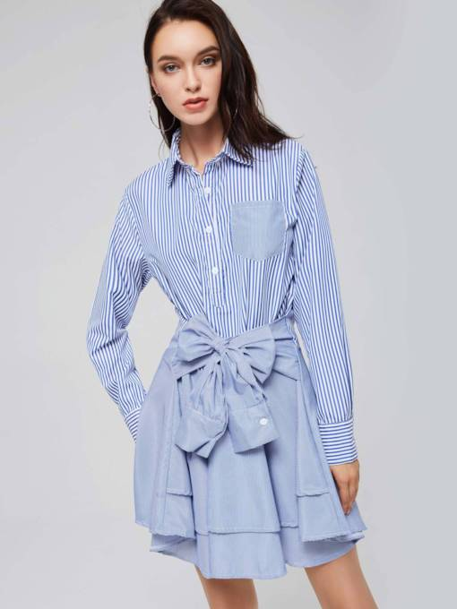 Long Sleeve Bowknot Belt Stripe Shirt Dress