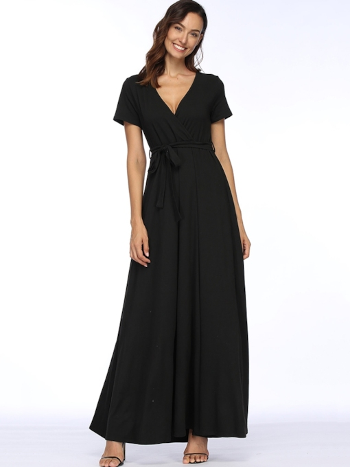 V-Neck Short Sleeves Women's Maxi Dress