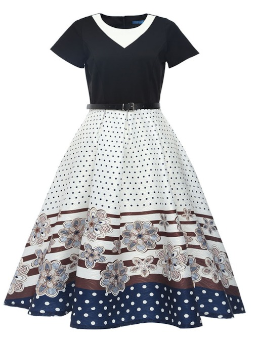 Polka Dots Short Sleeves Vintage Women's Day Dress