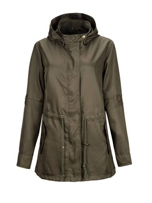 Army Green Drawstring Double Pocket Zip Women's Trench Coat