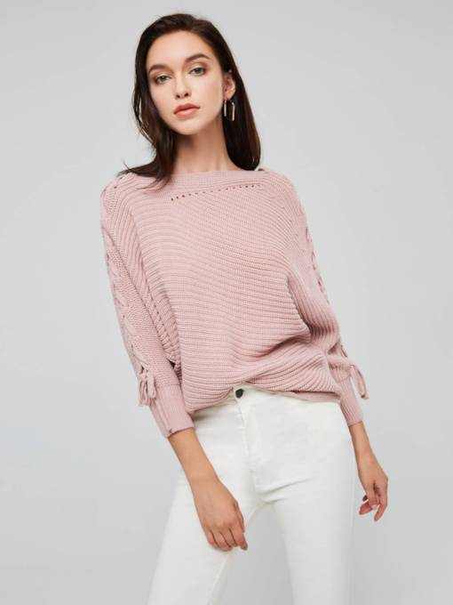 Scoop Neck Lace Up Batwing Sleeve Women's Sweater