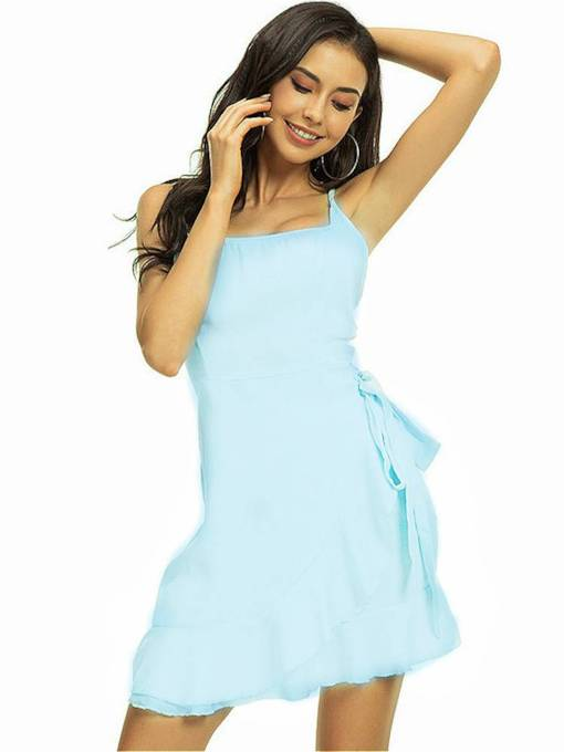 Light Blue Backless Women's Party Dress