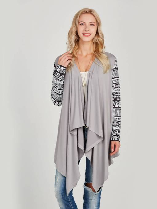 Ethnic Open Front Geommetric Print Ruched Women's Cardigan