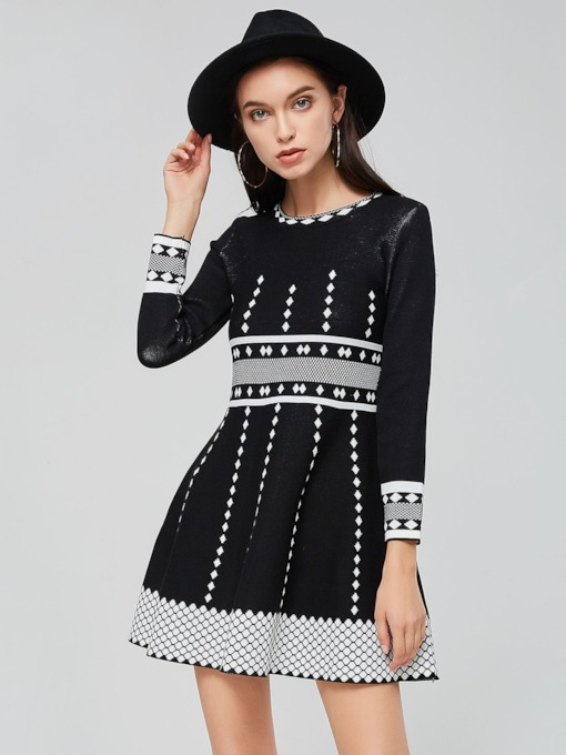 Black Long Sleeve Pullover Women's Sweater Dress