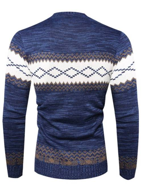 Round Neck Color Block Patchwork Casual Men's Sweater
