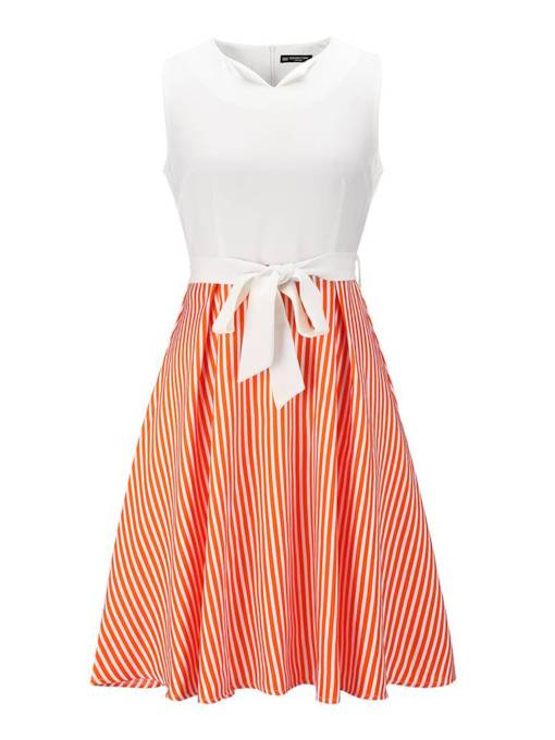 Bowknot Stripe Sleeveless Women's Day Dress