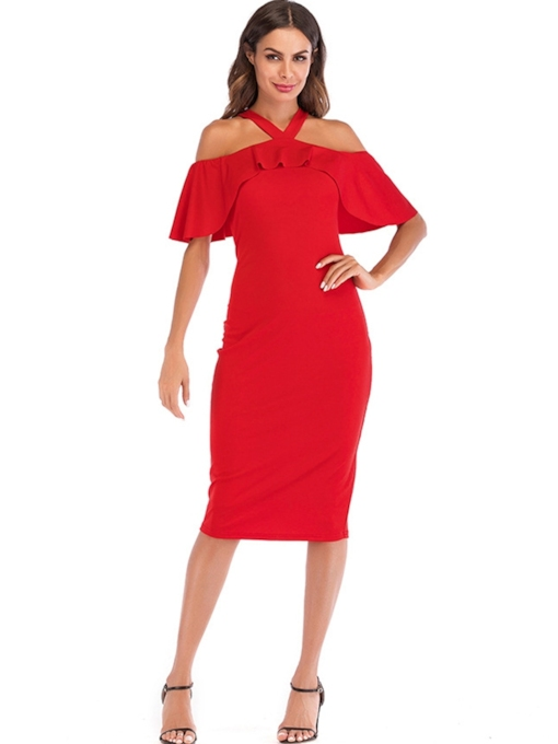 Red Falbala Halter Women's Day Dress