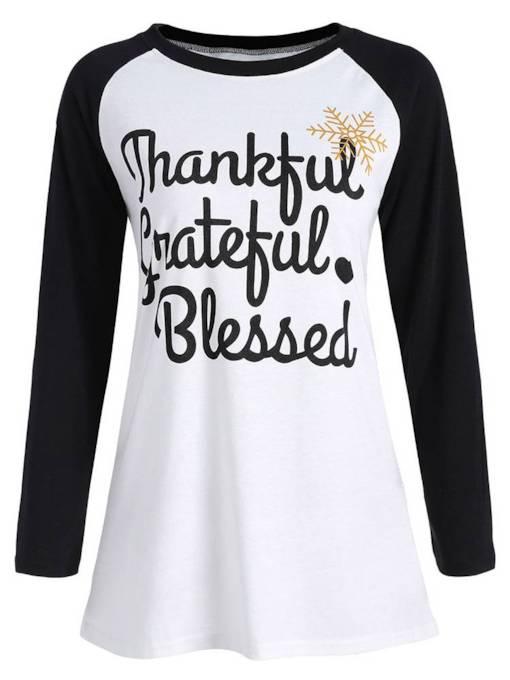 Letter Print Color Block Long Sleeve Women's T-Shirt