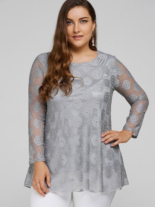 Plus Size Mesh Patchwork Lace Women's T-Shirt
