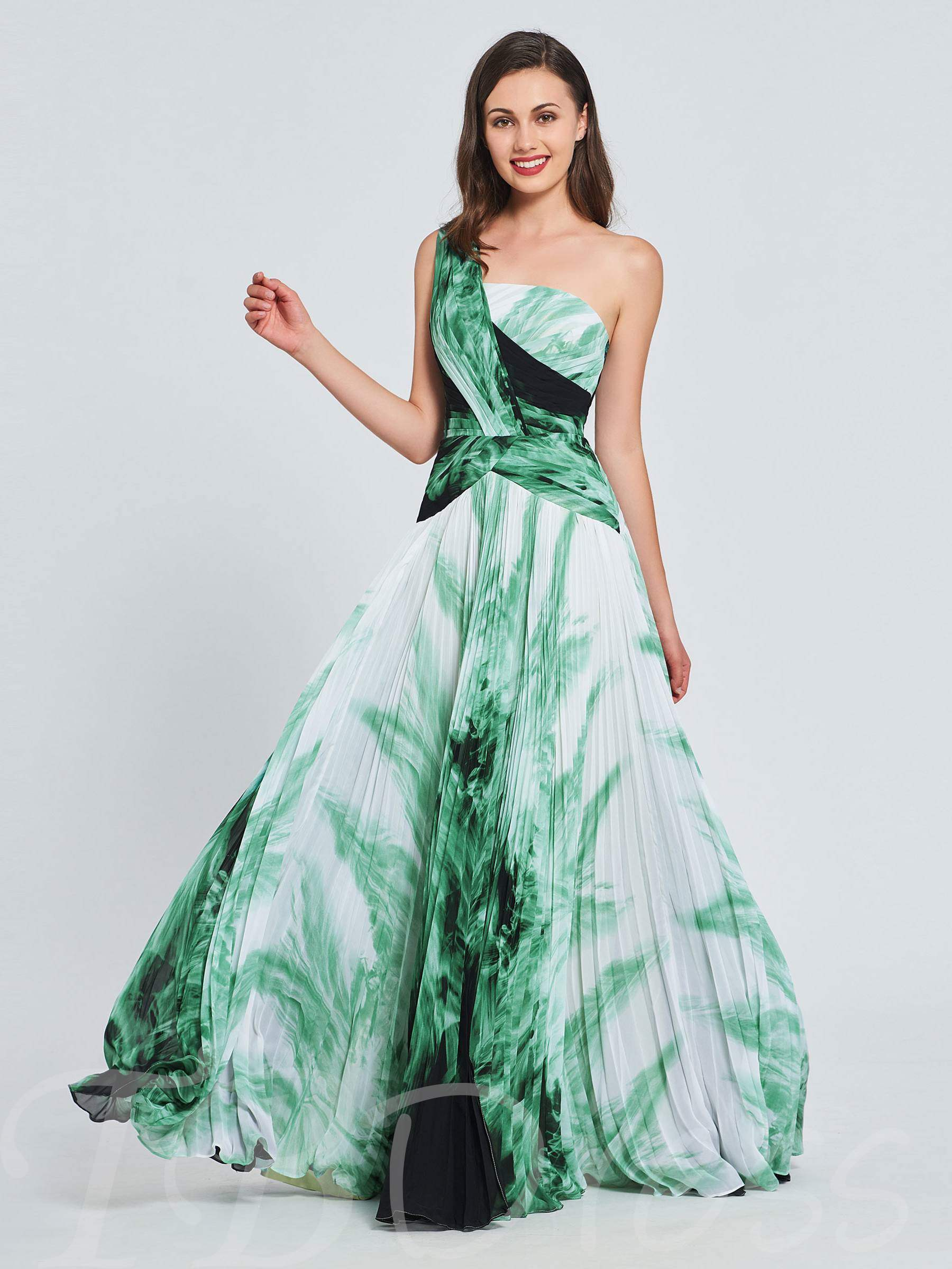 Buy A-Line One-Shoulder Pleats Printed Prom Dress, Spring,Summer,Fall,Winter, 13393543 for $157.99 in TBDress store