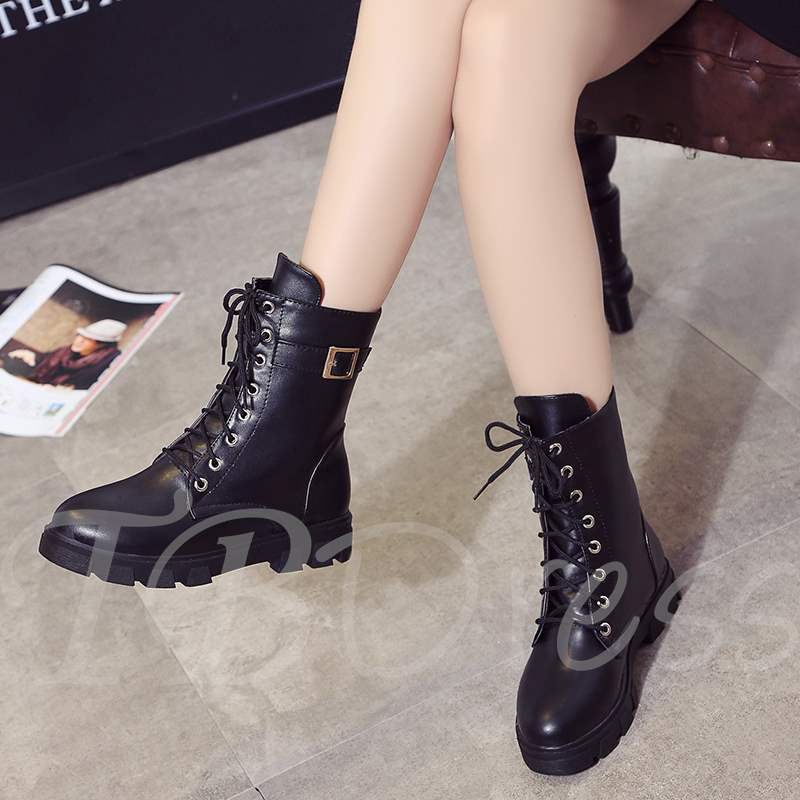 Buy Round Toe Lace-Up Front Block Heel Buckle Casual Martin Boots, Spring,Fall, 13393012 for $38.87 in TBDress store