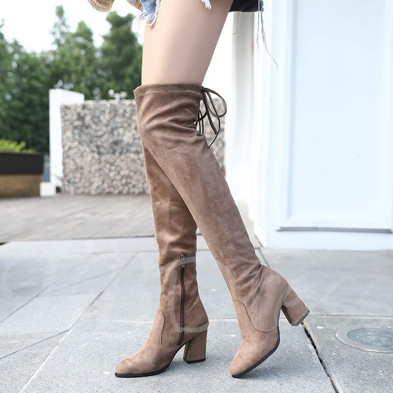d87bb1a51498 Suede Round Toe Lace-Up Back Chunky Heel Women's Thigh High Boots. Sold Out