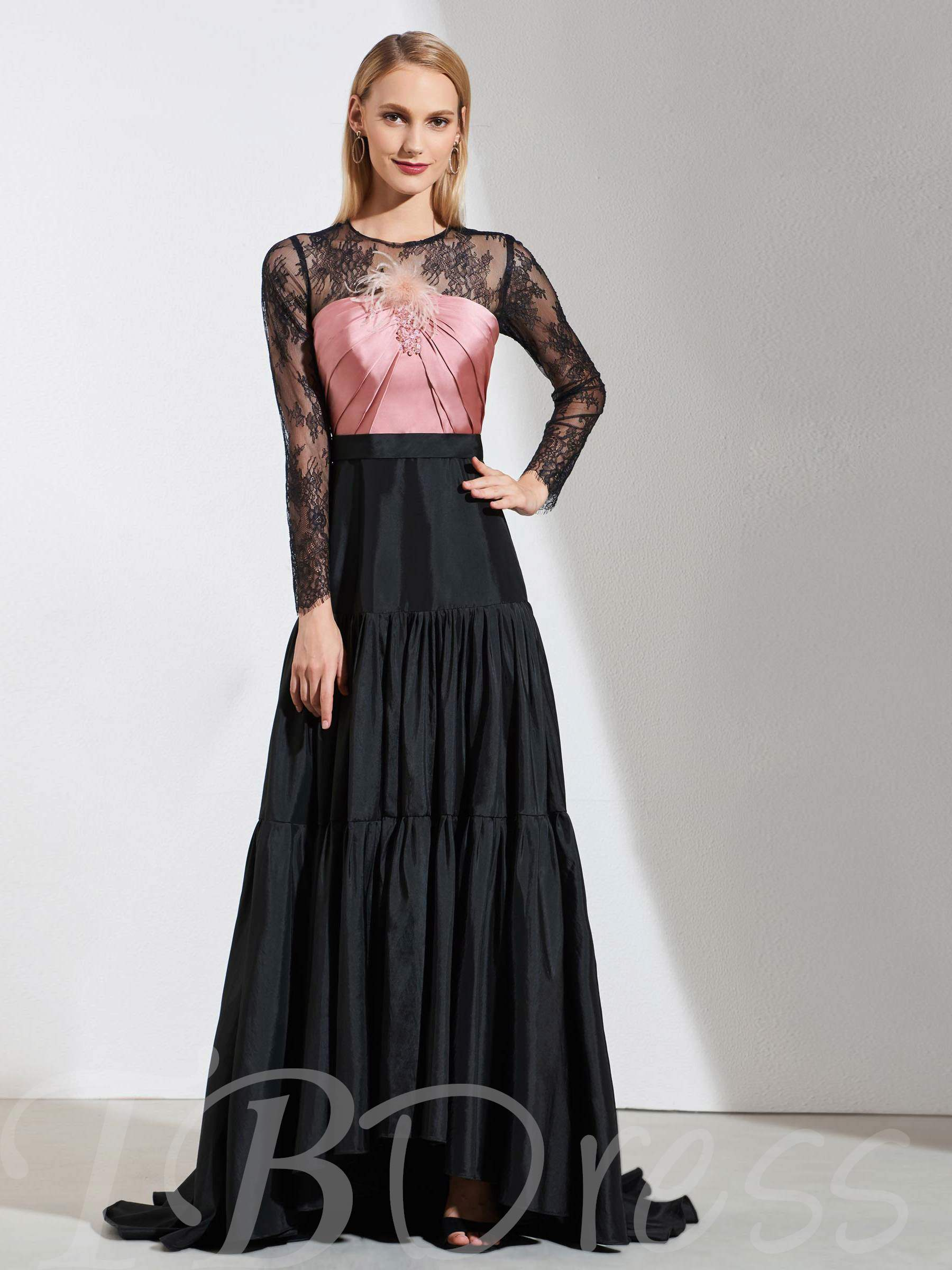 Buy A-Line Jewel Lace Long Sleeves Evening Dress, Spring,Summer,Fall,Winter, 13391625 for $156.99 in TBDress store