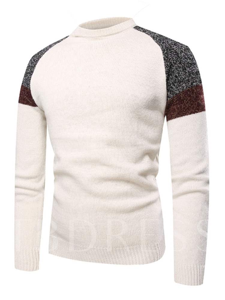 Buy Raglan Sleeve Patchwork Slim Men's Sweater, Fall,Winter, 13393494 for $26.73 in TBDress store