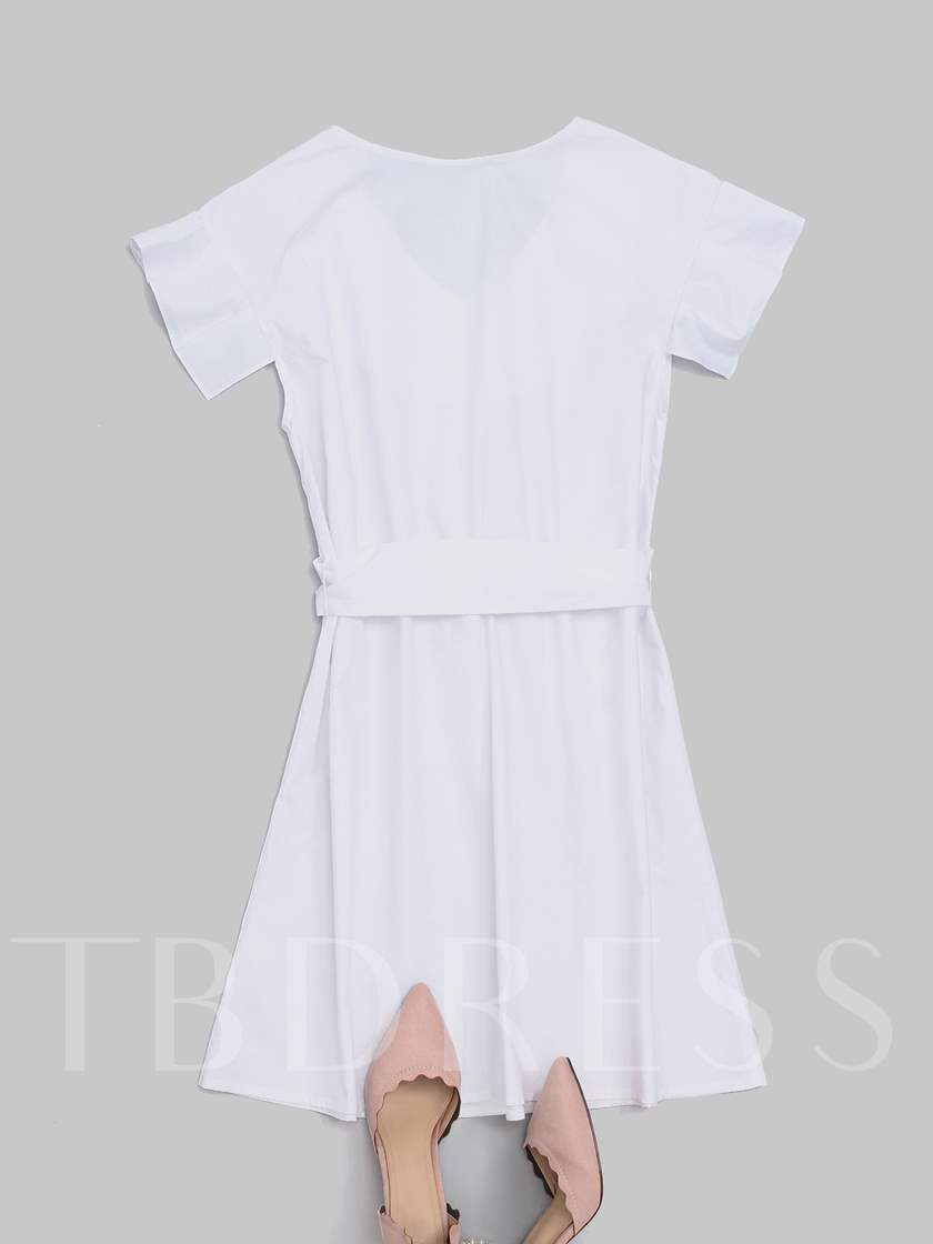 White Falbala Short Sleeves Women's Day Dress