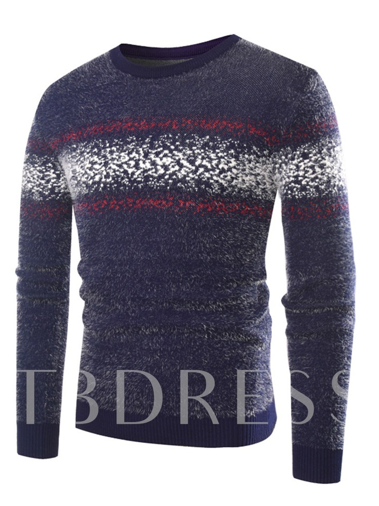 Round Neck Slim Color Block Patchwork Casual Man's Sweater