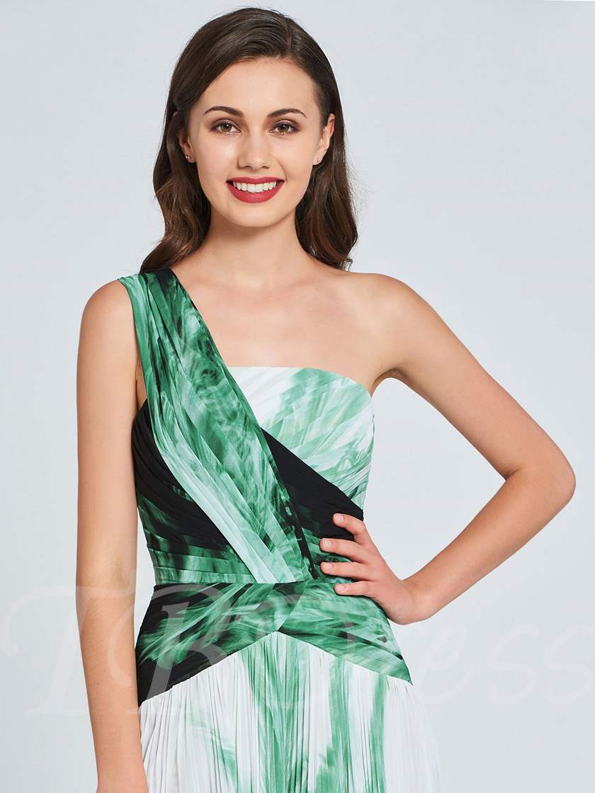 A-Line One-Shoulder Pleats Printed Prom Dress