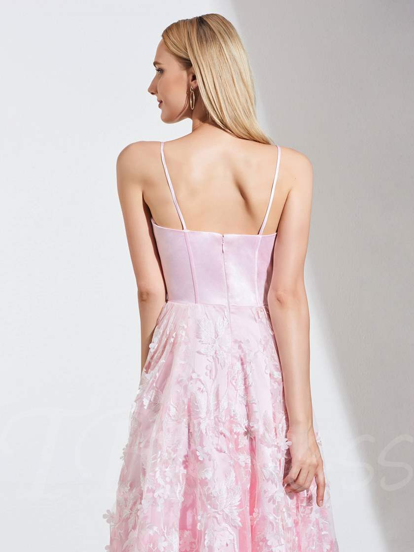 A-Line Spahetti Straps Lace Pink Prom Dress