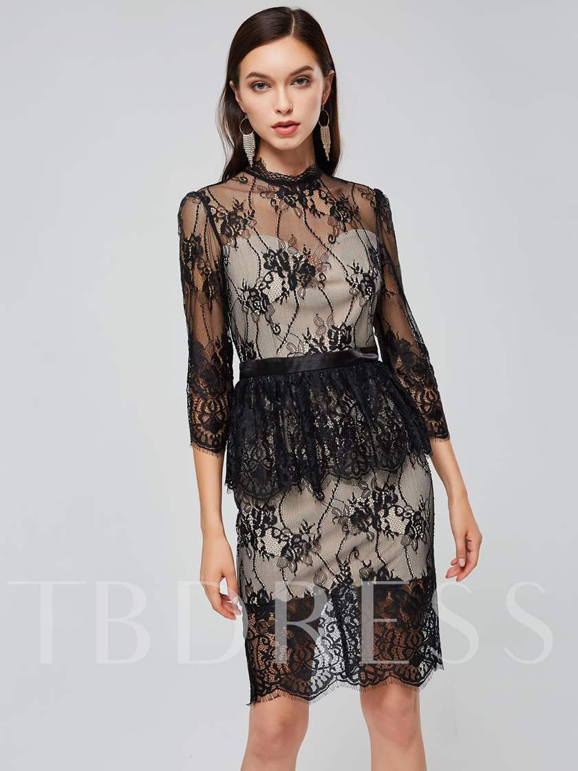 Stand Collar Long Sleeve Lace Sheath Dress