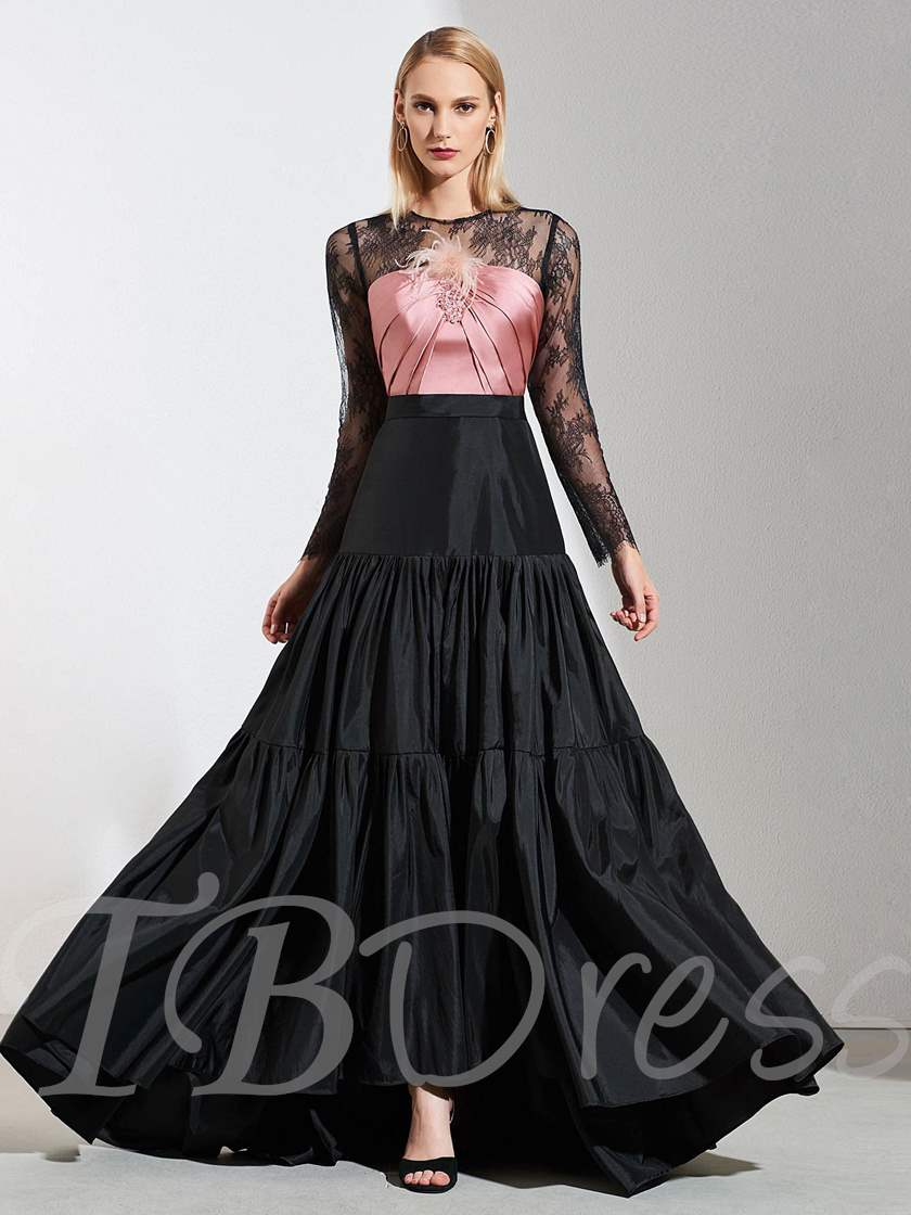 A-Line Jewel Lace Long Sleeves Evening Dress