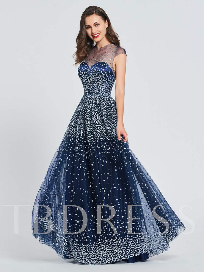 A-Line Jewel Button Sequins Prom Dress