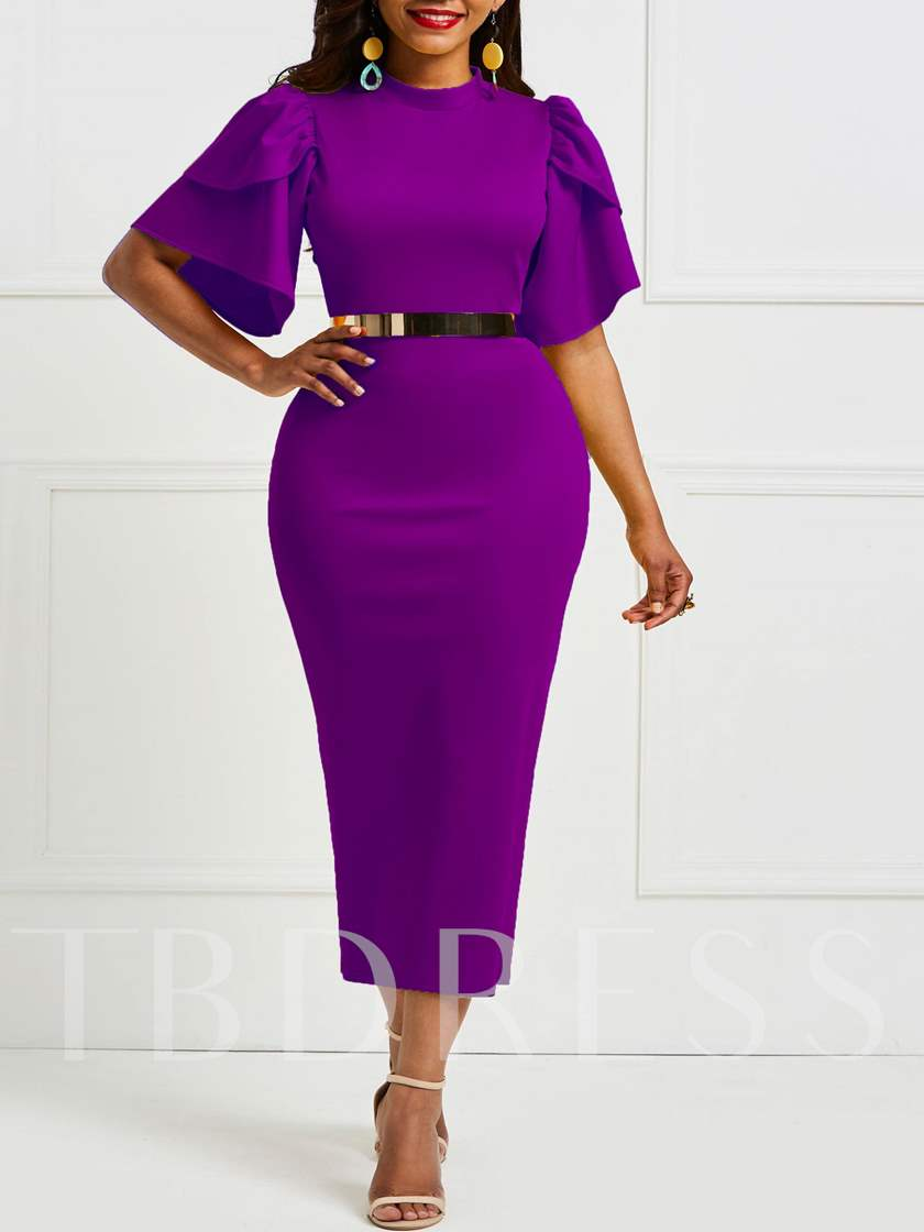 Falbala Pure Color Knee-Length Bodycon Dress without Belt