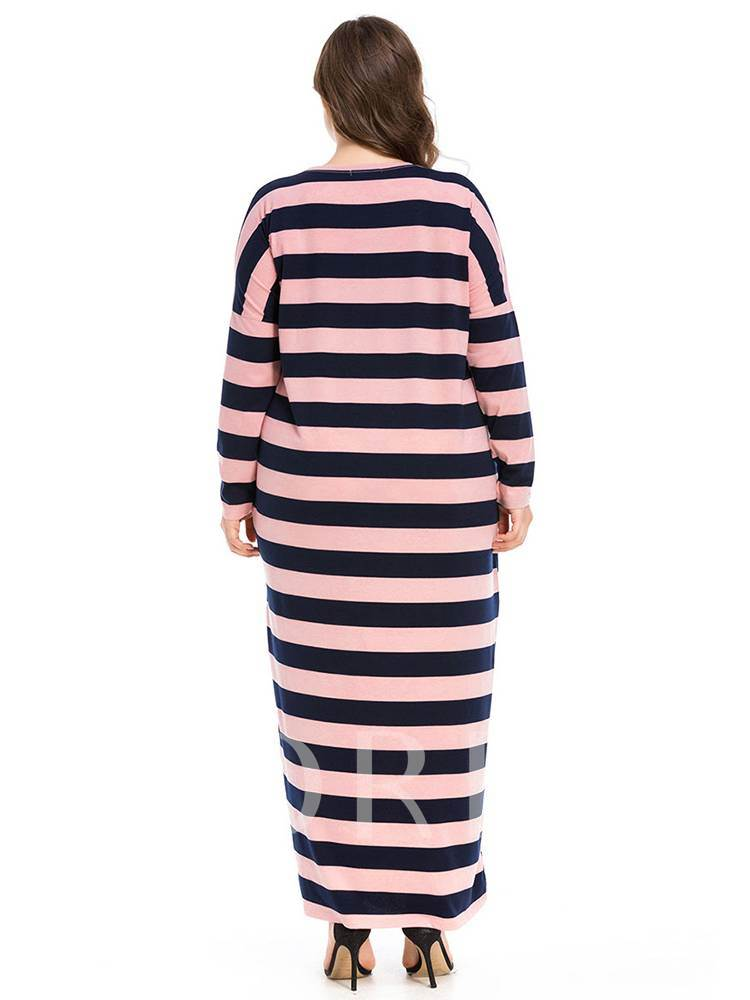 Stripe Long Sleeves Women's Maxi Dress