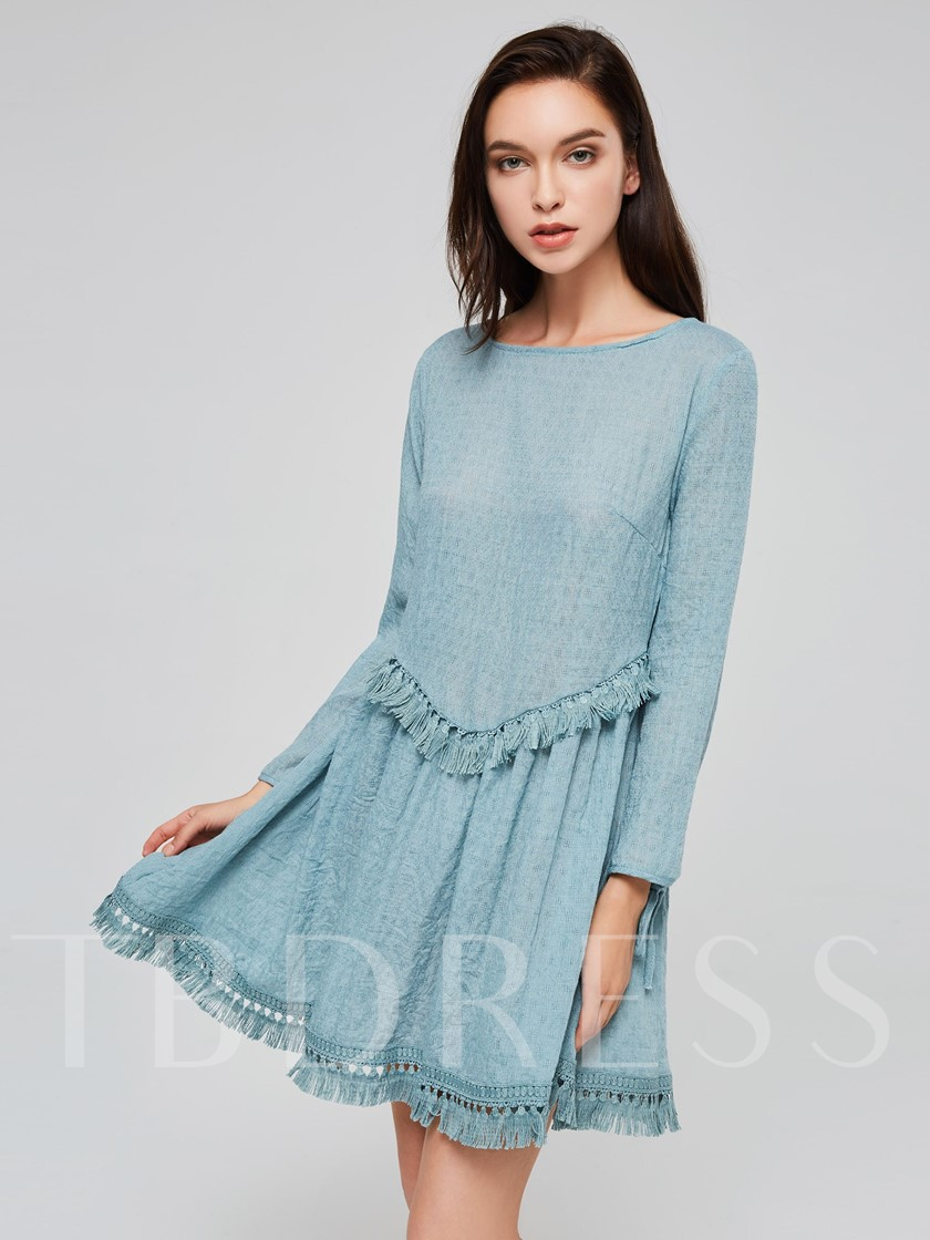 Blue Tassel Patchwork Women's Long Sleeve Dress