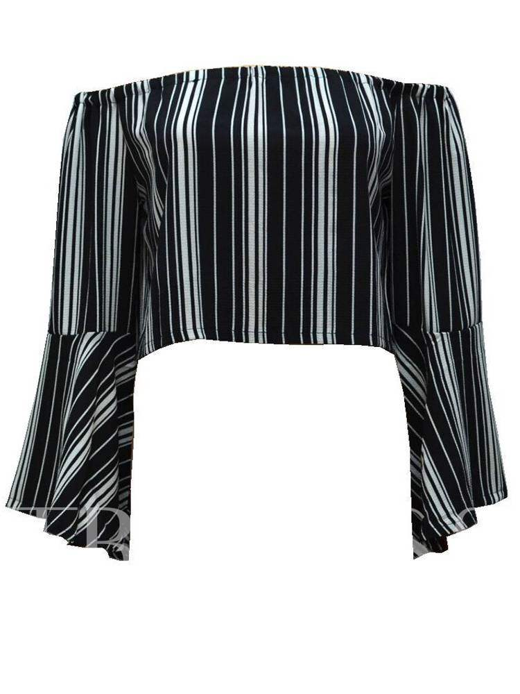 Buy Stripe Flare Sleeve Off Shoulder Women's Crop Blouse, Spring,Fall, 13392650 for $8.46 in TBDress store