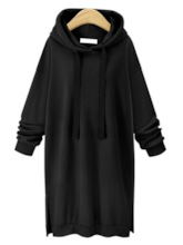 Plain Long Length Solid Color Brushed Women's Hoodie