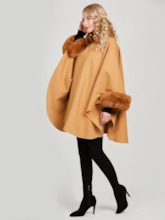 Faux Fur Collar One Button Wool Blends Women's Cape
