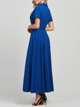 Short Sleeve Pleated Lapel Single-Breasted Women's Maxi Dress