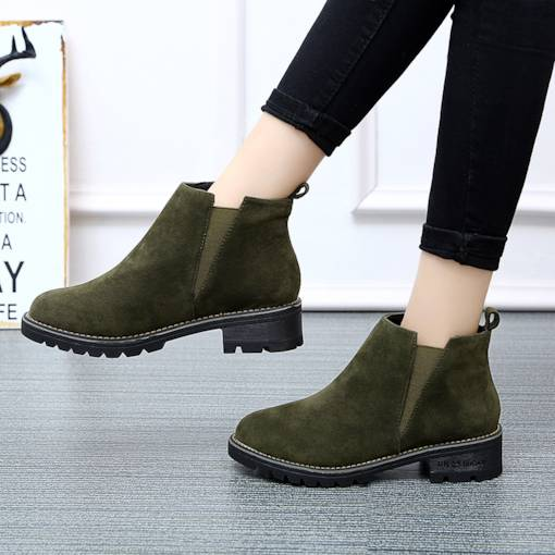Round Toe Elastic Band Block Heel Sewing Chelsea Ankle Boots