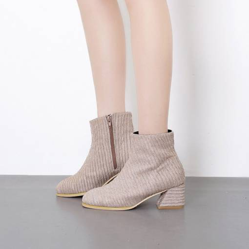 Round Toe Side Zipper Chunky Heel Exquisite Women's Ankle Boots