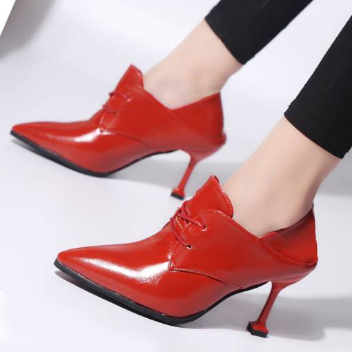 Pointed Toe Lace-Up Front Stiletto Heel Sexy Women's Ankle Boots