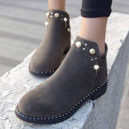Round Toe Slip-On Block Heel Beads Ladylike Women's Ankle Boots