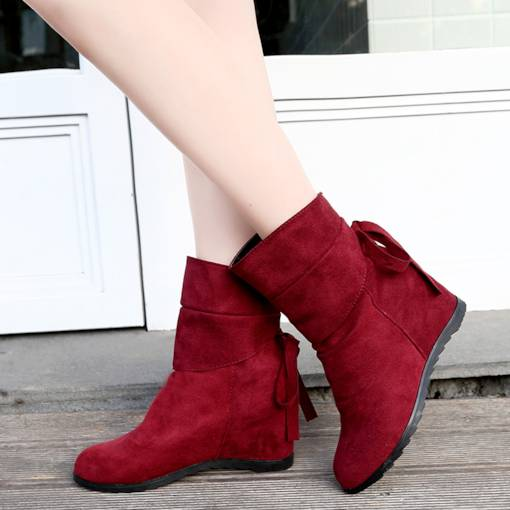 Round Toe Suede Slip-On Bowknot Elevated Women's Ankle Boots