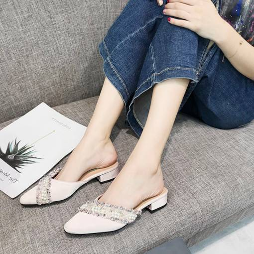 Closed Toe Slip-On Block Heel Beads Women's Pointed Toe Mules