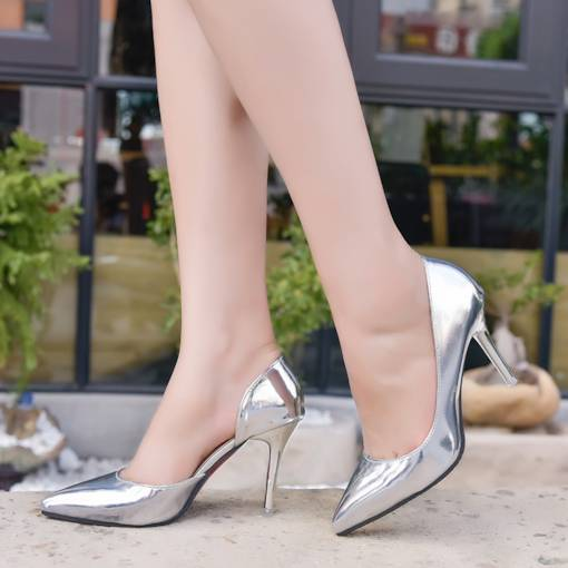Slip-On Pointed Toe Stiletto Heel Metallic Women's Pumps