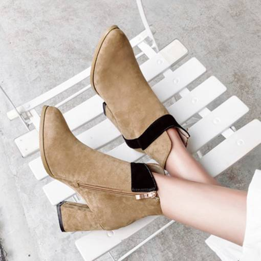 Pointed Toe Suede Chunky Heel Color Block Women's Ankle Boots