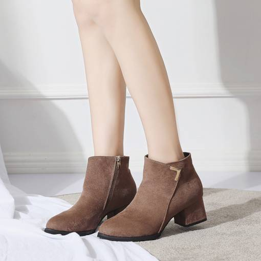 Suede Round Toe Side Zipper Chunky Heel Women's Ankle Boots