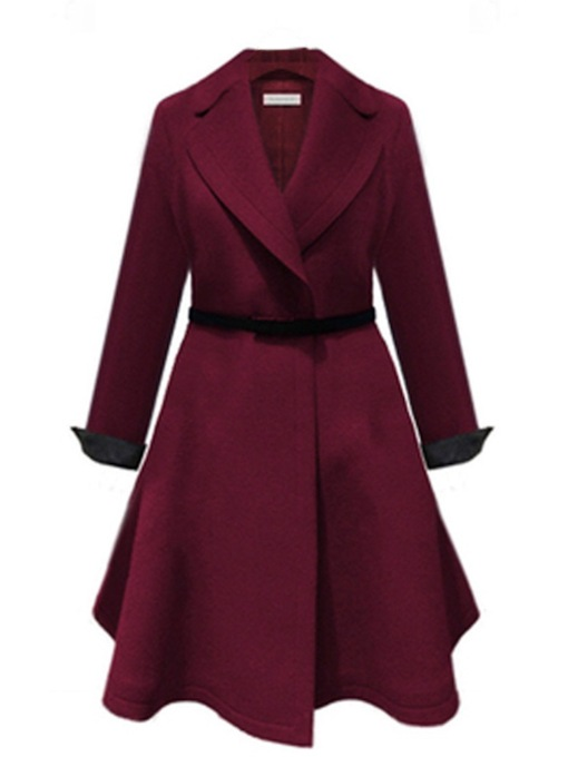 Elegant Plus Size A-Line Notched Lapel Belt Women's Overcoat