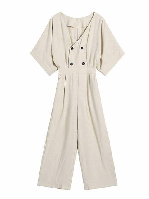 Double Breasted High Waist Women's Jumpsuit