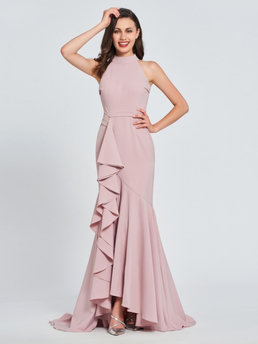 Trumpet High Neck Ruffles Evening Dress